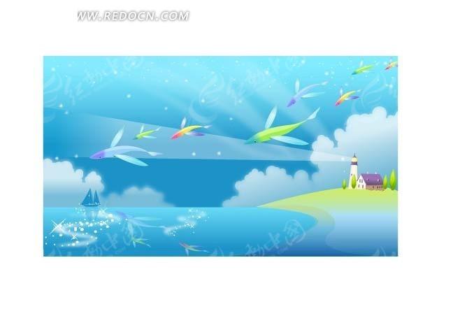 手绘蓝色星空海岸灯塔上的彩色飞鱼