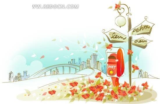 红色 蓝色 白色  花朵 路牌 信箱 街道 拱桥 路灯 树木 城市 手绘插画