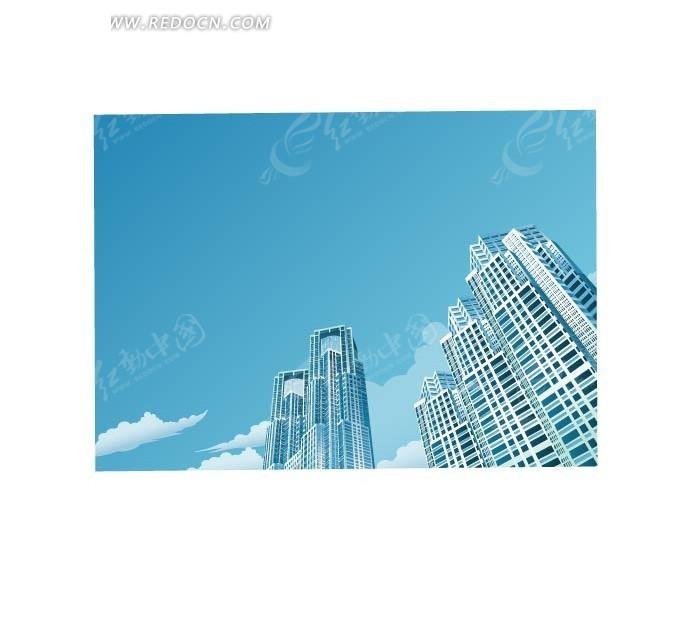 手绘橙色高楼大厦仰视图_城市风光_红动手机版