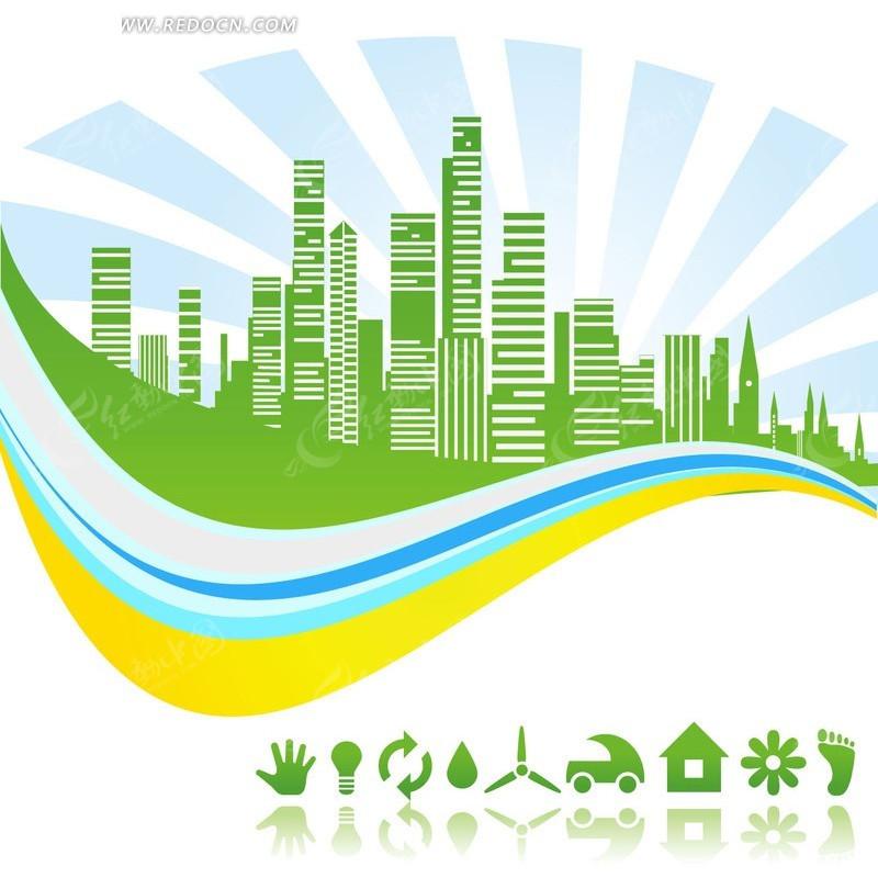 手绘绿色城市高楼剪影
