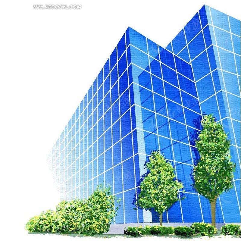 建筑立面手绘树