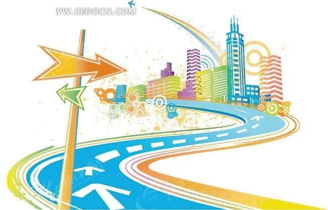 路向标 手绘 缤纷城市  道路  城市风光 城市图片 矢量素材