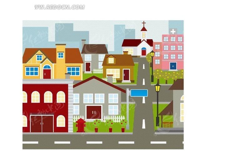 卡通城市建筑物图片