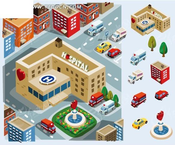 红心  医院 医院救护车 汽车 心形喷泉  插画 手绘 矢量素材  城市