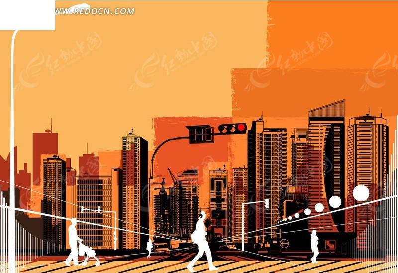 手绘城市街景剪影