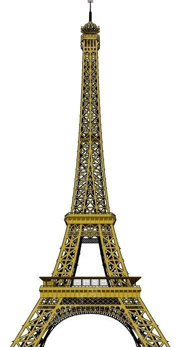 手绘黄色线条巴黎铁塔