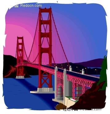 手绘夜幕中的高架桥