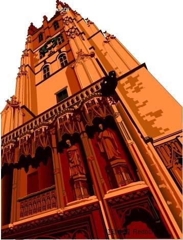 手绘欧式风格建筑