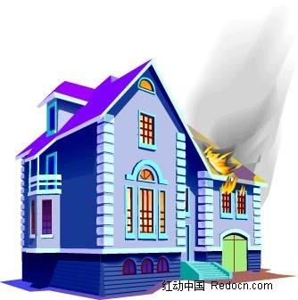 手绘火烧房屋插画