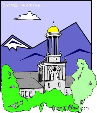 手绘 欧式 欧式风格 建筑 灯塔 欧式灯塔 欧式建筑 卡通 插画 插画