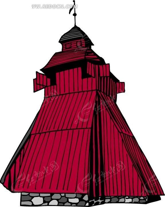 手绘红色异形建筑矢量图_城市风光