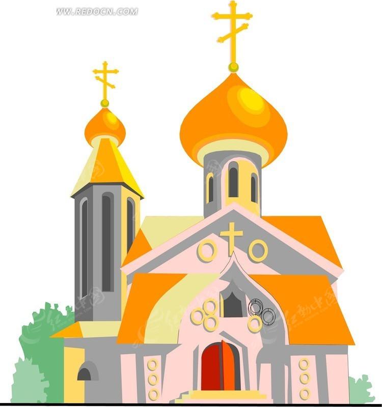 手绘卡通教堂