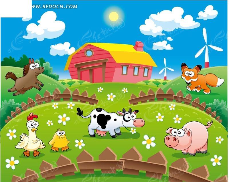 卡通快乐农场矢量图 卡通形象