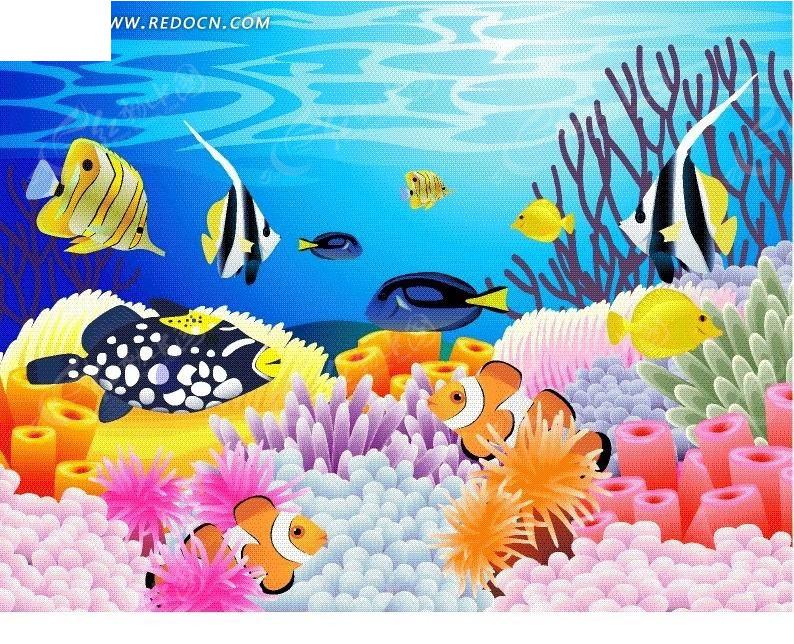 卡通海底自由自在的鱼图片