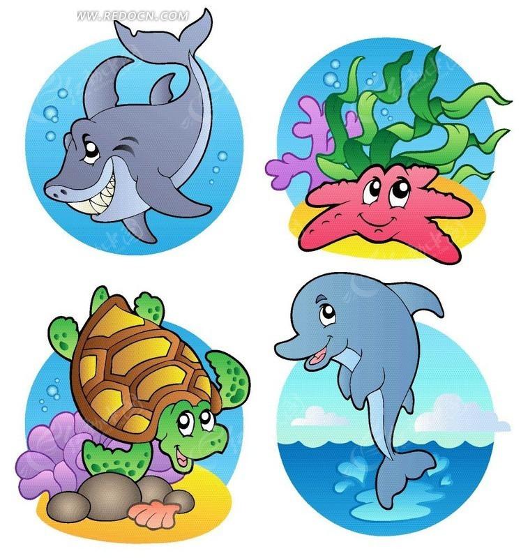 卡通海洋生物