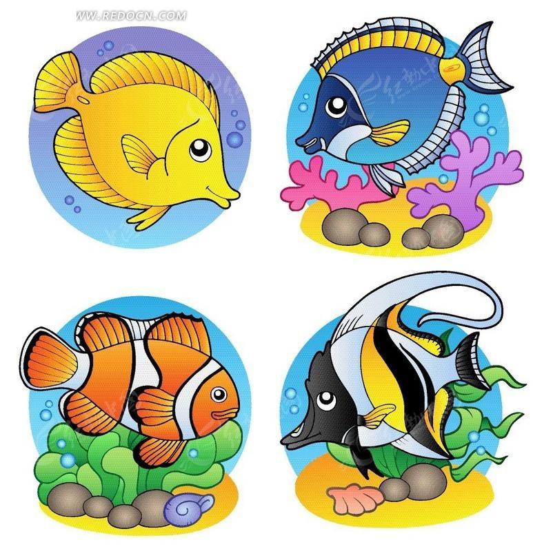 4款手绘卡通鱼矢量图_卡通形象