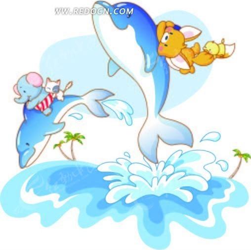 骑着海豚的卡通小动物