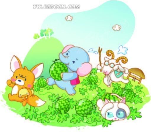 偷西瓜的卡通小动物