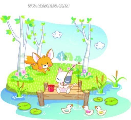 钓鱼的小猫和奔跑的狐狸