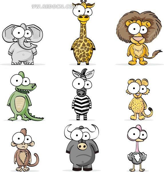 卡通可爱大眼睛动物