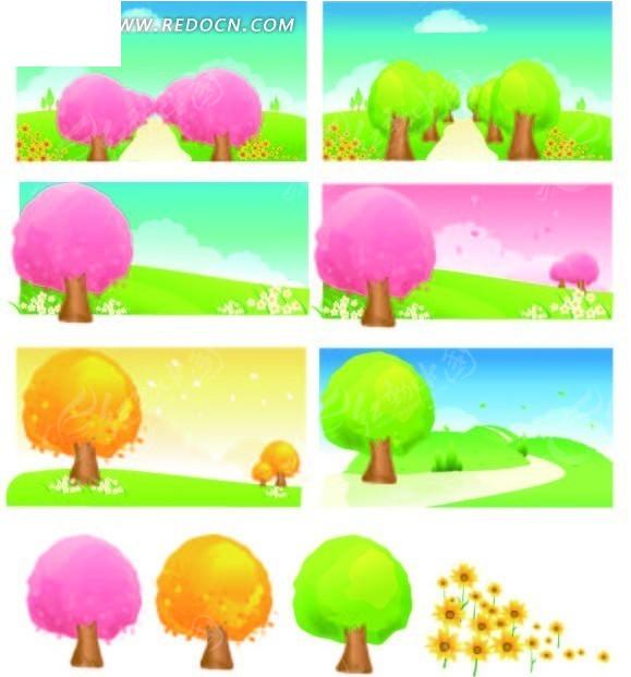 天空 花草 小路 树林 树木  卡通画 插画 手绘 矢量素材 风景图片