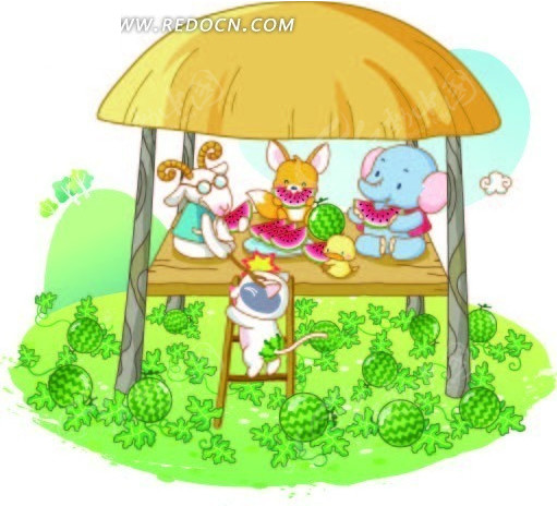 凉棚下吃西瓜的卡通动物