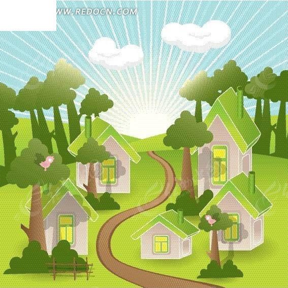 手绘绿色家园图片