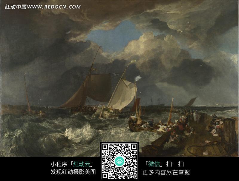 绘画作品 手机 文字 大海/油画—波涛汹涌的海浪上的帆船