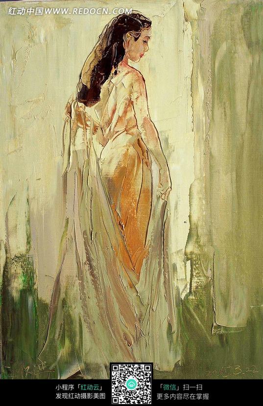 油画穿着雪纺轻纱长发美女侧脸图片