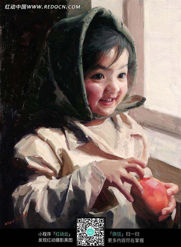 着水果的女孩图片