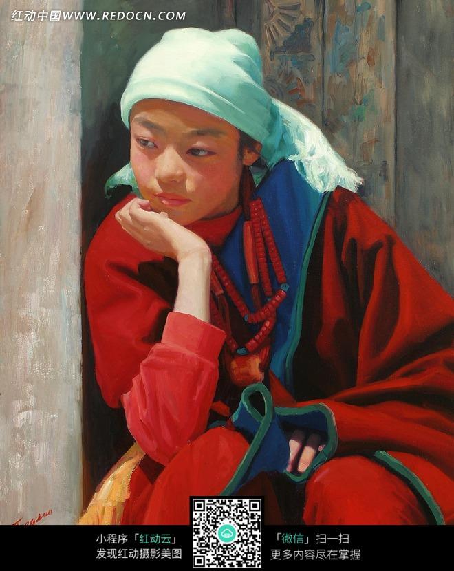 图片粉女孩头带的藏族吉祥女生-绿色书画|头巾歌之王k翻唱传统图片