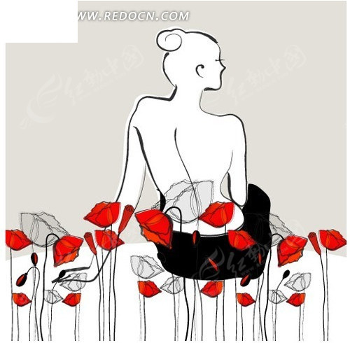 手绘女人背影图片