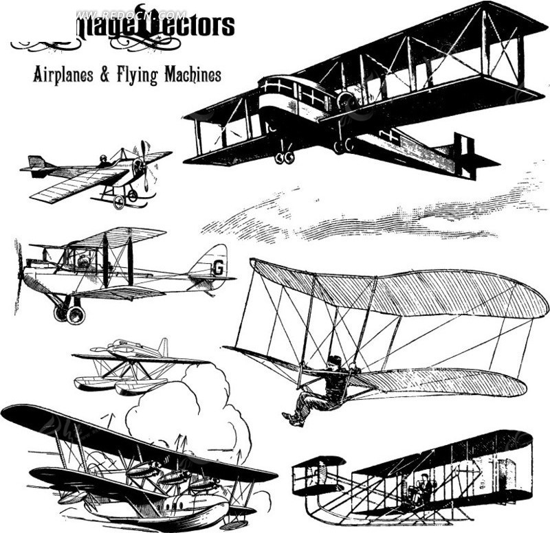 免费素材 矢量素材 花纹边框 流行元素 手绘各式飞机  请您分享: 红动