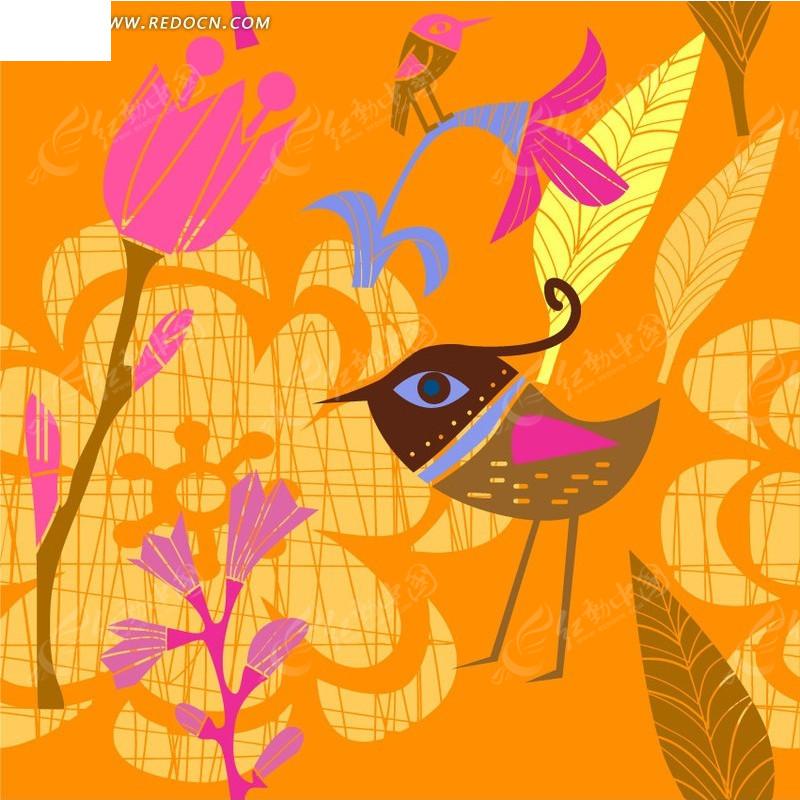 手绘抽象鸟儿