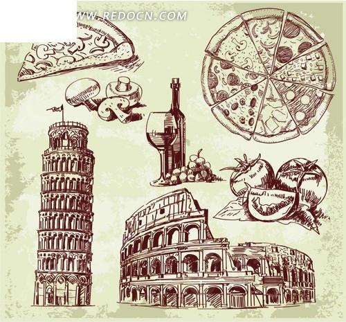 手绘建筑物和美食