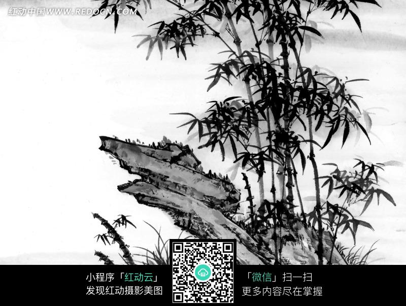 水墨画—倾斜的石头和竹子图片