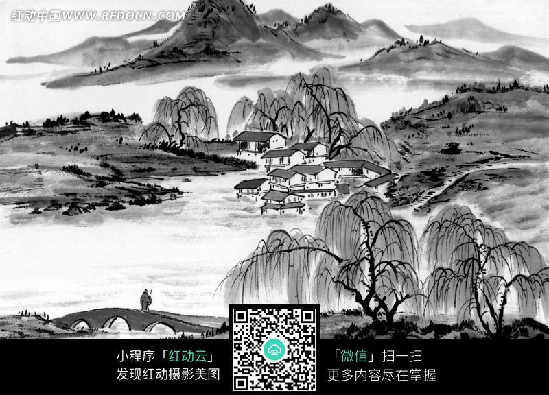 水墨画之山中小屋和柳树图片免费下载 编号1375389 红动网图片