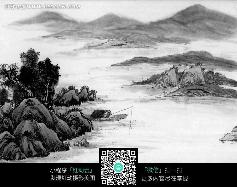 水墨画之高山下水面上垂钓的人图片免费下载_红动网