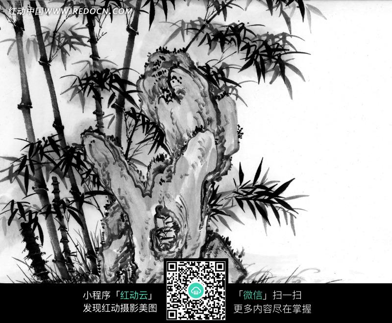 水墨画之石头后茂盛的竹子图片