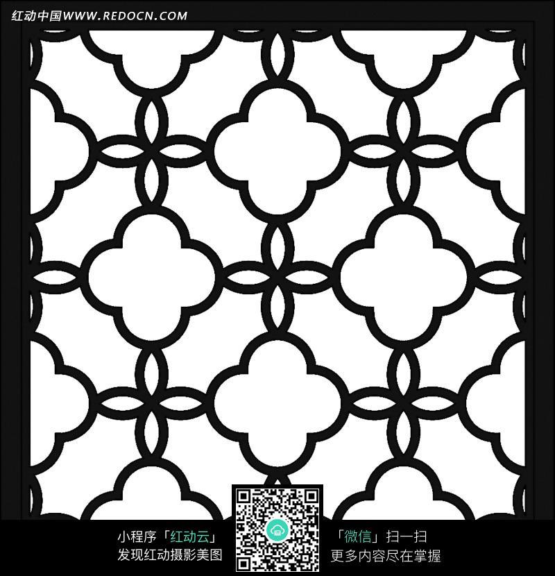 手绘十字梅花窗框设计图片; 手绘十字梅花窗框图片-花纹|花边|线条
