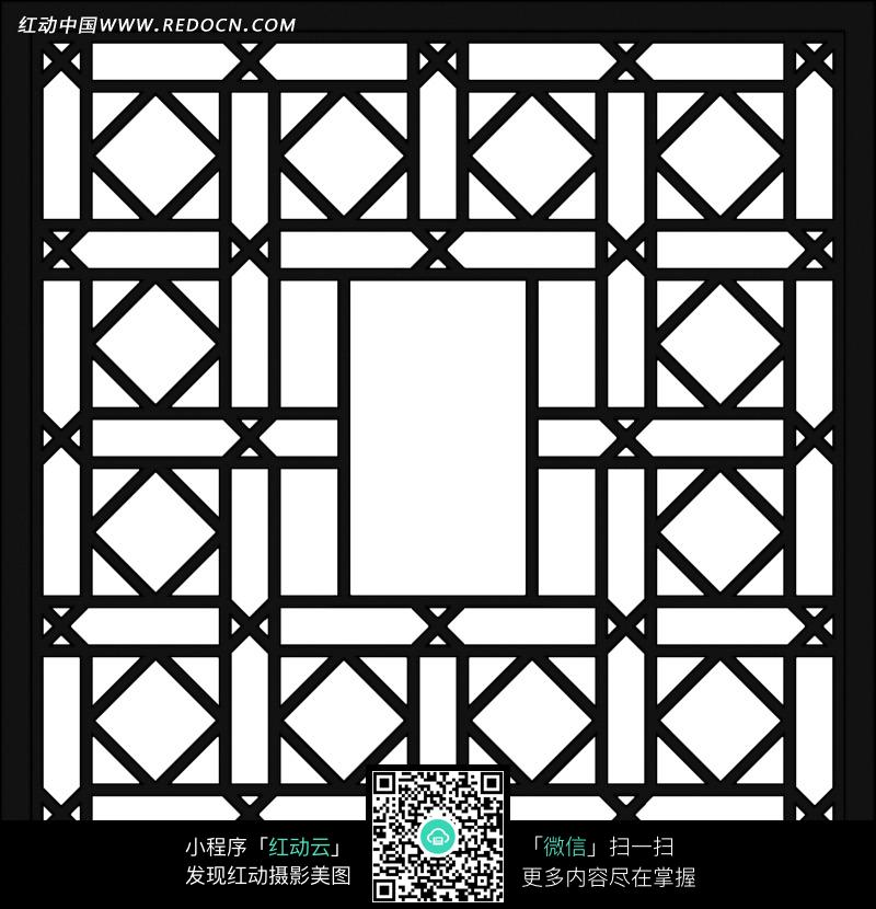 黑色中式正方形镂空图案图片