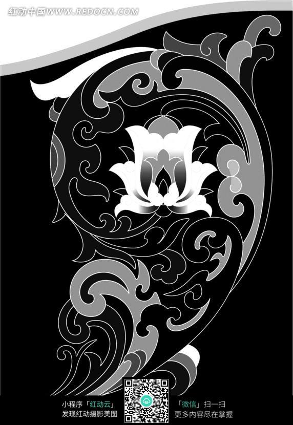 手绘卷心叶蔓莲花花纹图片