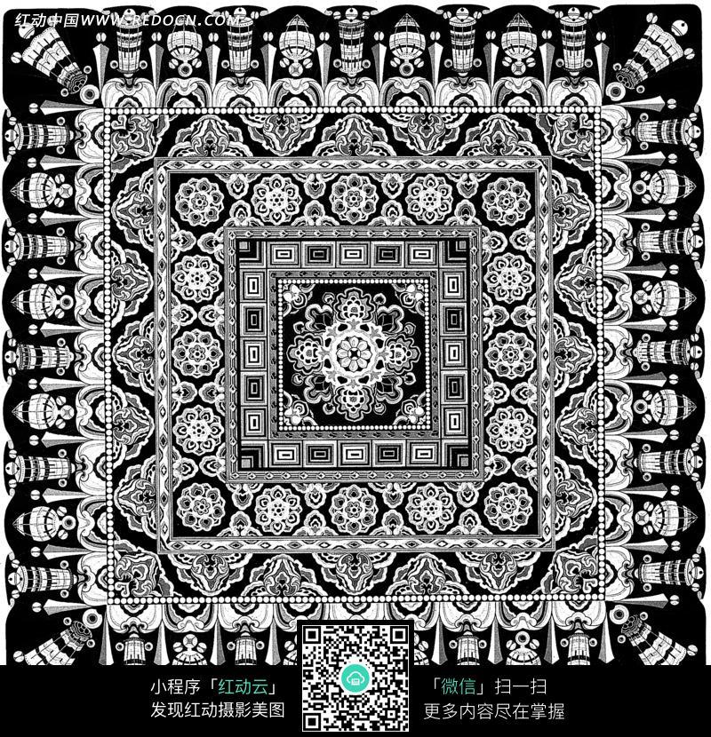 正方形花纹边框传统花纹花朵图案图片