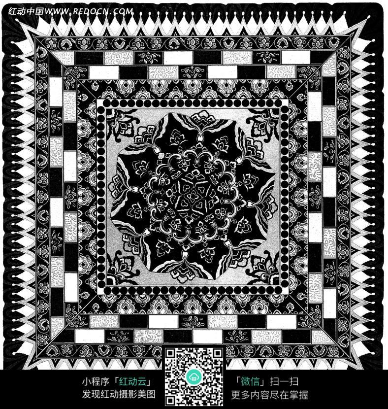 黑白传统刺绣图案