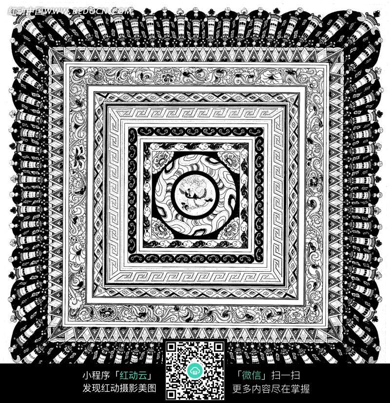 黑白卷云纹回纹菱形纹装饰的地毯花纹图案
