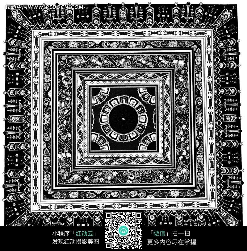 卷草纹菱形纹十二瓣花纹装饰的地毯黑白图案图片