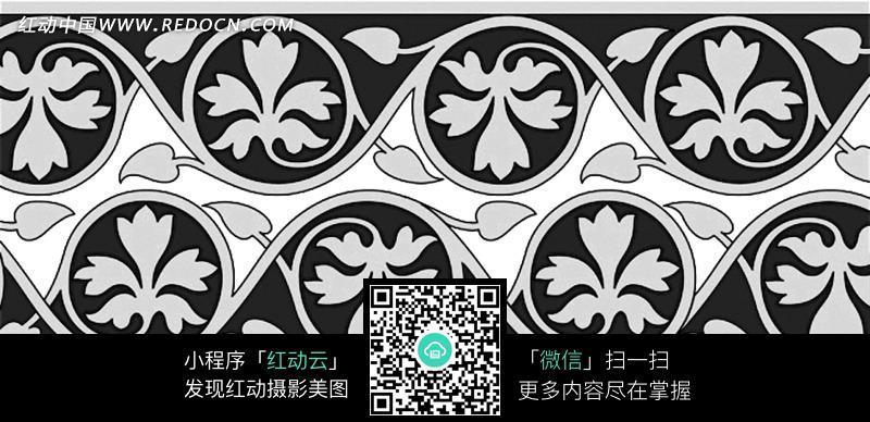 黑白背景上的灰色植物图案图片_花纹花边图片