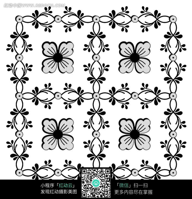正方形叶子花边中心花朵图案图片