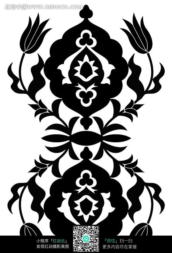 手绘黑色对称花朵花纹图案图片免费下载 编号1377463 红动网