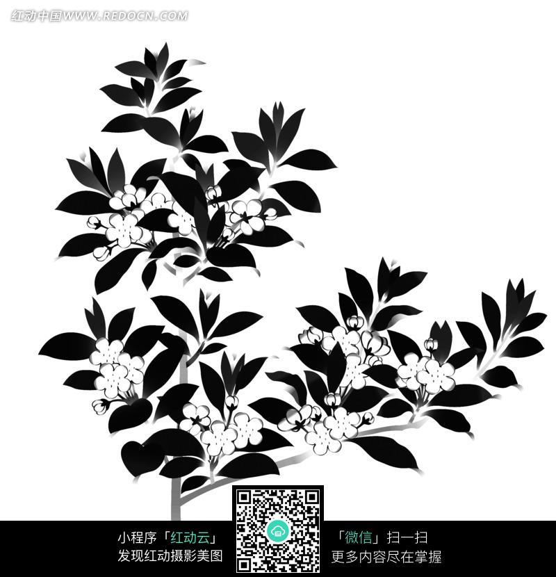 矢量树枝花朵植物图形图片